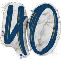 "40th Birthday Blue & Gold Marble 34"" Foil Balloon"