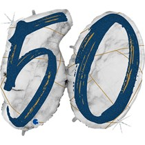 "50th Birthday Blue & Gold Marble 34"" Foil Balloon"