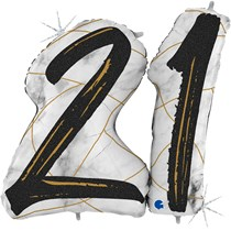"21st Birthday Black & Gold Marble 34"" Foil Balloon"