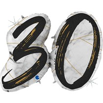"30th Birthday Black & Gold Marble 34"" Foil Balloon"