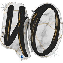 "40th Birthday Black & Gold Marble 34"" Foil Balloon"