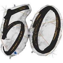 "50th Birthday Black & Gold Marble 34"" Foil Balloon"