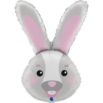 "Grey Bunny Rabbit 37"" Foil Balloon"