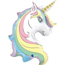 "Macaron Pastel Unicorn Head 39"" Foil Balloon"