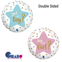 """Gender Reveal 2 Sided 18"""" Foil Balloon"""