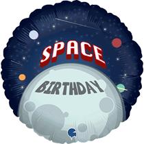 "Space Birthday Moon 18"" Foil Balloon"