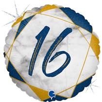 "16th Birthday Blue & Gold Marble 18"" Foil Balloon"