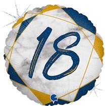 "18th Birthday Blue & Gold Marble 18"" Foil Balloon"