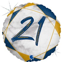 "21st Birthday Blue & Gold Marble 18"" Foil Balloon"