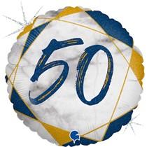 "50th Birthday Blue & Gold Marble 18"" Foil Balloon"