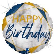 "Happy Birthday Blue & Gold Marble 18"" Foil Balloon"