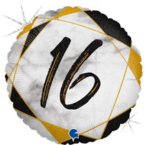 "16th Birthday Black & Gold Marble 18"" Foil Balloon"