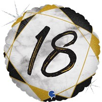 "18th Birthday Black & Gold Marble 18"" Foil Balloon"