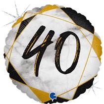 "40th Birthday Black & Gold Marble 18"" Foil Balloon"
