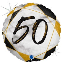 "50th Birthday Black & Gold Marble 18"" Foil Balloon"