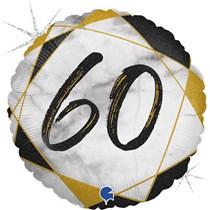 "60th Birthday Black & Gold Marble 18"" Foil Balloon"