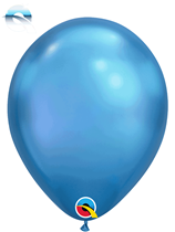"11"" Qualatex Chrome Blue Latex Balloons"