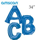 "Blue 34"" Supershape Foil Letter Balloons"