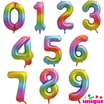 "Unique Party Rainbow 34"" Foil Number Balloons"