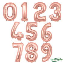 "Oaktree 34"" Rose Gold Foil Number Balloons"