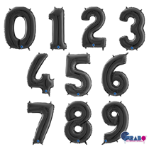 "Grabo Black 26"" Foil Number Balloons"