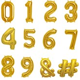 "North Star Gold 16"" Number and Symbol Foil Balloons"