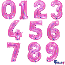 """Fucshia Holographic Glitter 40"""" Foil Number Balloons"""