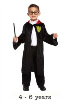 Children's Wizard Costume 4 - 6 yrs With Glasses & Wand