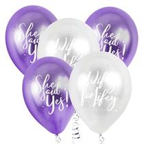 Chrome Finish Purple & Silver Hen Party Balloons 5pk