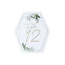 Gold Geometric Greenery Design Table Numbers 12pk