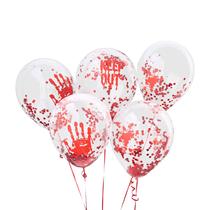 "Halloween Bloody Confetti 12"" Latex Balloons 5pk"