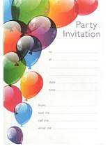 Balloon Party Invitation Sheets & Envelopes 20pk