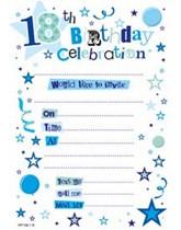 Blue 18th Birthday Invitation Sheets & Envelopes 20pk