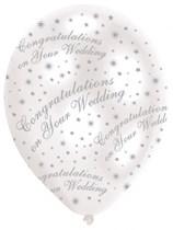 "Congratulations Wedding Pearl White 11"" Latex Balloons 6pk"