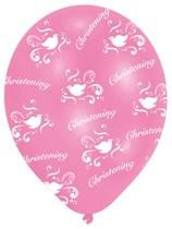"Pink Christening 11"" Latex Balloons 6pk"