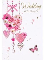 Pink Hearts Wedding Acceptance Cards 24pk