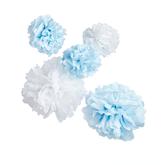 Oh Baby Blue & White Hanging Pom Poms