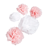 Oh Baby Pink & White Hanging Pom Poms