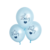 "Oh Baby Blue Printed 11"" Latex Balloons 6pk"