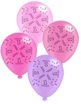 "Pink Age 1 Assorted 10"" Latex Balloons 8pk"