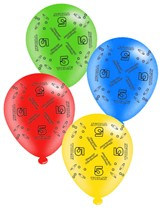 """Age 5 Assorted 10"""" Latex Balloons 8pk"""