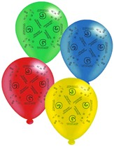"Age 6 Assorted 10"" Latex Balloons 8pk"