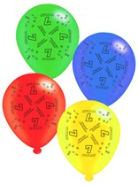 """Age 7 Assorted 10"""" Latex Balloons 8pk"""