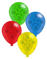 """Age 8 Assorted 10"""" Latex Balloons 8pk"""