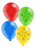 """Age 9 Assorted 10"""" Latex Balloons 8pk"""