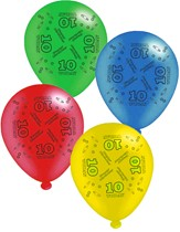 """Age 10 Assorted 10"""" Latex Balloons 8pk"""