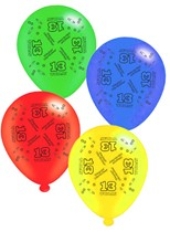"""Age 13 Assorted 10"""" Latex Balloons 8pk"""