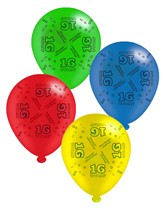 """Age 16 Assorted 10"""" Latex Balloons 8pk"""