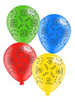 """Age 18 Assorted 10"""" Latex Balloons 8pk"""