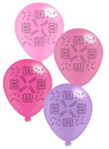 "Pink Age 18 Assorted 10"" Latex Balloons 8pk"